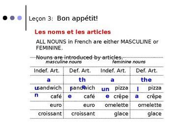 French Grammar, Lecon 3, DF Bleu (Articles)