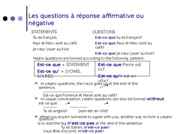 French Grammar, Lecon 6, Discovering French Bleu