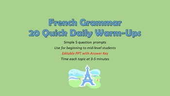 French Grammar Quiz Warm-Ups: 20 total prompts