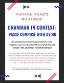 French Grammar in Context: Passé Composé with Avoir