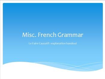 French Grammar : le faire causatif : handout