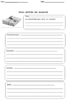 French Graphic Organizer: Analyzing and summarizing a journal article