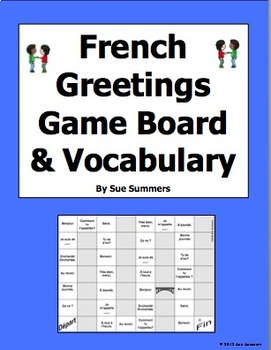 French greetings board game and vocabulary les salutations by sue french greetings board game and vocabulary les salutations m4hsunfo