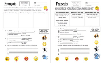 French Greetings, Names, and Feelings Chart and Dialogues