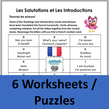 French Greetings Worksheets