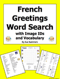 French Greetings and Basics Word Search Puzzle, IDs, and Vocabulary