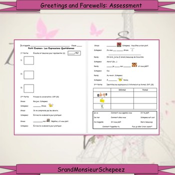 French: Greetings and Farewells Vocab and Assessment Bundle