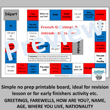 French Greetings and Introductions Game