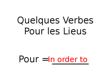 French Guided Notes- Verbs for Places Around Town