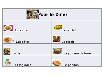 French Guided Notes on Food Vocabulary