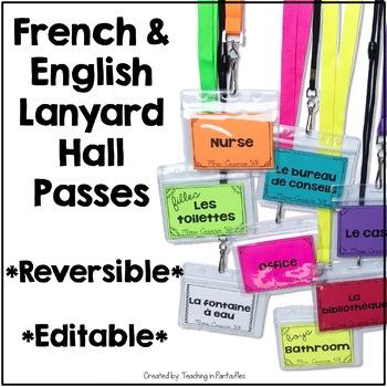 French Hall Pass Lanyards - Editable