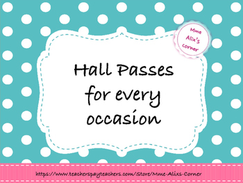 French Hall Pass Set / Passes pour le couloir en Français {Free}