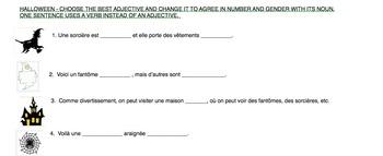 French Halloween Adjective Agreement Practice