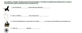 French Halloween Adjective Agreement Practice