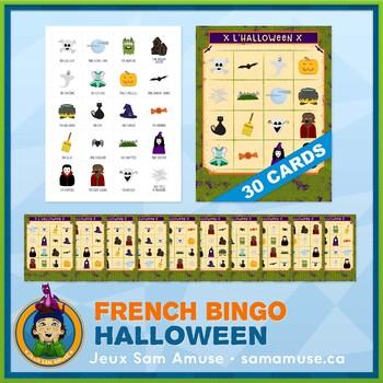 French Halloween Bingo Game • 30 Cards