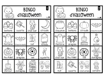 French Halloween Bingo Game - Bingo d'Halloween - Black and White