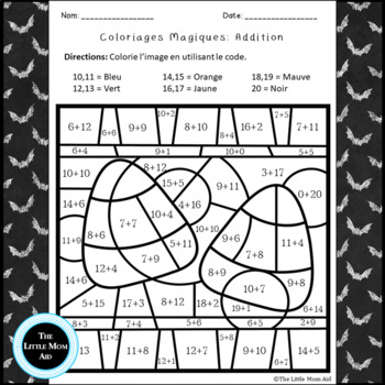French Halloween Color by Code Addition  Coloriages Magiques Halloween Addition