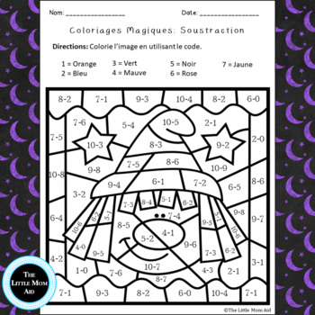 UPDATED French Color by Code Subtraction | Coloriages Magiques Halloween Soustr