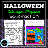 French Color by Code Subtraction   Coloriages Magiques Halloween Soustraction