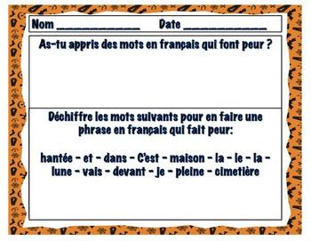 French Halloween Exit Tickets - Billets de Sortie