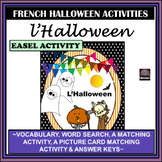 French Halloween-word search-vocabulary-picture matching-matching activities