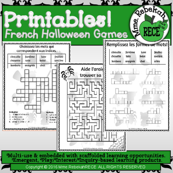 French Halloween Games Activities Printables