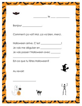 French Halloween Letter