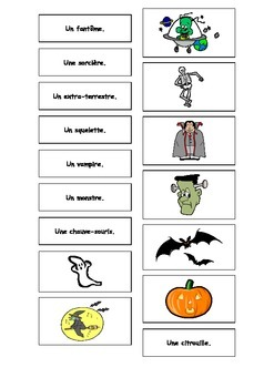 French Halloween Matching Cards Teaching Resources.