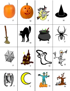 French Halloween Mini Vocabulary Cards