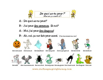 French Halloween Partner Conversation and Activities