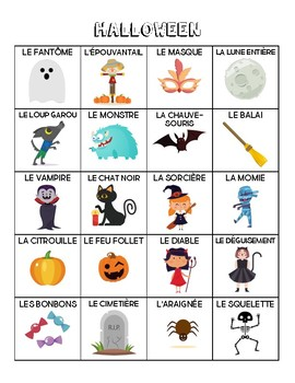 French - Halloween Vocabulary