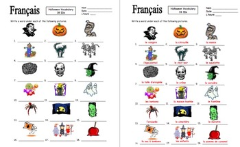 French Halloween Vocabulary 18 Images IDs