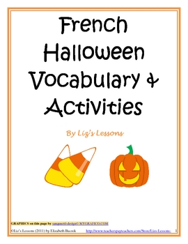 French halloween vocabulary activities bingo greeting cards m4hsunfo