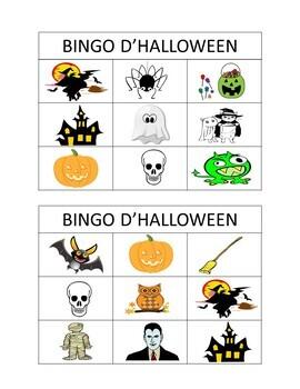 French Halloween Vocabulary Bingo Game and Word Wall