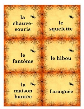 French Halloween Vocabulary Memory Game and Word Wall