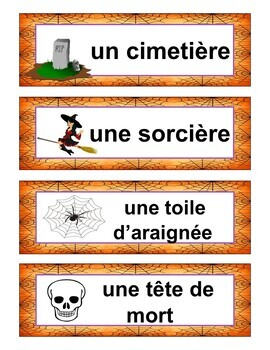 French Halloween Vocabulary Puzzle Game and Word Wall