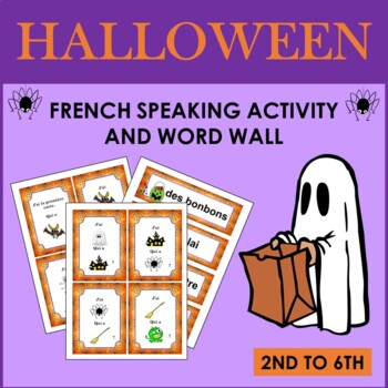 French Halloween Vocabulary Speaking Activity and Word Wall