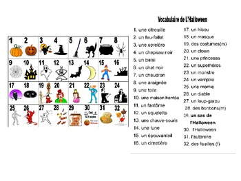 French Halloween Vocabulary Teaching Posters PowerPoint