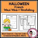 French Halloween Vocabulary Vocabulaire Work Word Search Crossword Puzzle