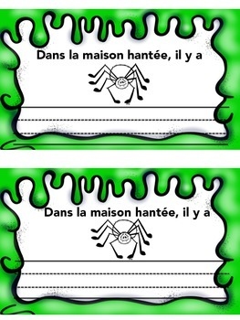 French Halloween Vocabulary Writing Activity- Maison hantee- francais