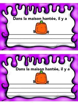 French Halloween Vocabulary Writing Activity- Maison hantee- francais
