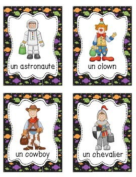 French Halloween Activities & Word Wall - Includes 24 Costumes Vocabulary Cards