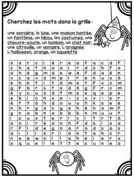 French Halloween Vocabulary pages and assessment L'halloween