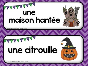 French Halloween Wall Words