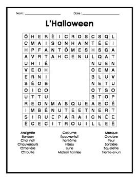French Halloween Word Search - Mots cachés français sur l'halloween