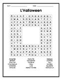French Halloween Word Search - Mots cachés français sur l'