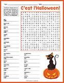 FRENCH HALLOWEEN VOCABULARY Word Search Puzzle Worksheet Activity