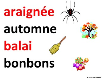 French Halloween Word Wall - 39 Words