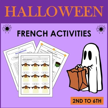 French Halloween activities, songs, and reading comprehensions (2nd to 6th)
