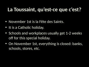 French Halloween and Toussaint PowerPoint Presentation